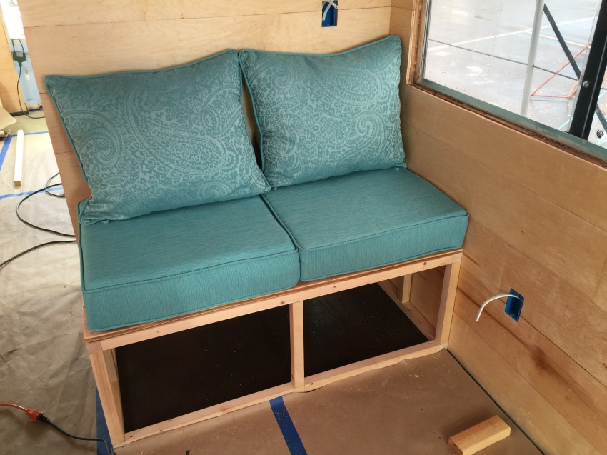 """Our benches are 24x48"""" and will store Ryan and my bedding"""