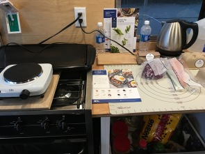 Electric burner, plywood counter, Blue Apron dinner. I can do this!