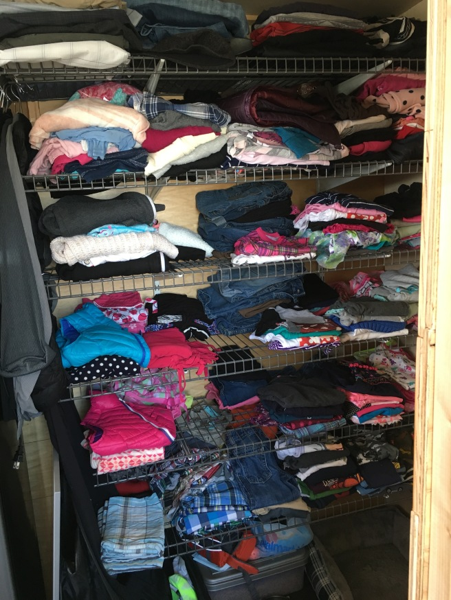 """Our closet. One shelf each that is 16""""x48""""."""