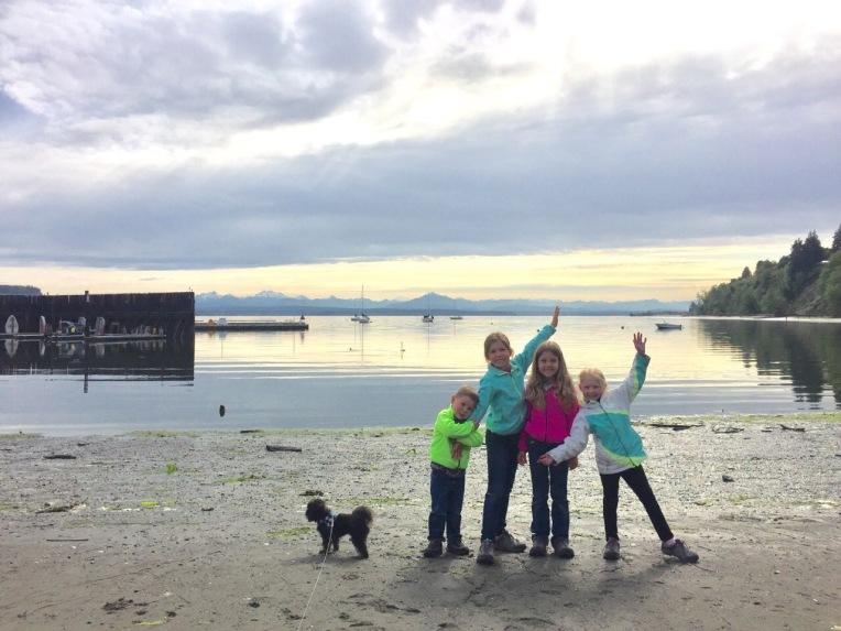 Kids on Langly's sandy beach