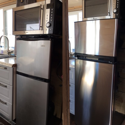 Old fridge on left, new fridge on right.