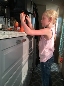 Felicity, my 6 year old, helps me cook!