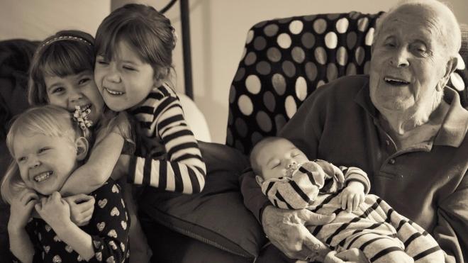 Great Grandpa with Kids-9