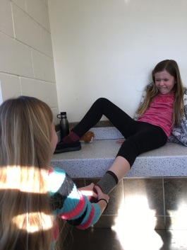 Joy and Ari are taking a break from math.