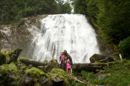 Taisey Family in front of Chatterbox Falls